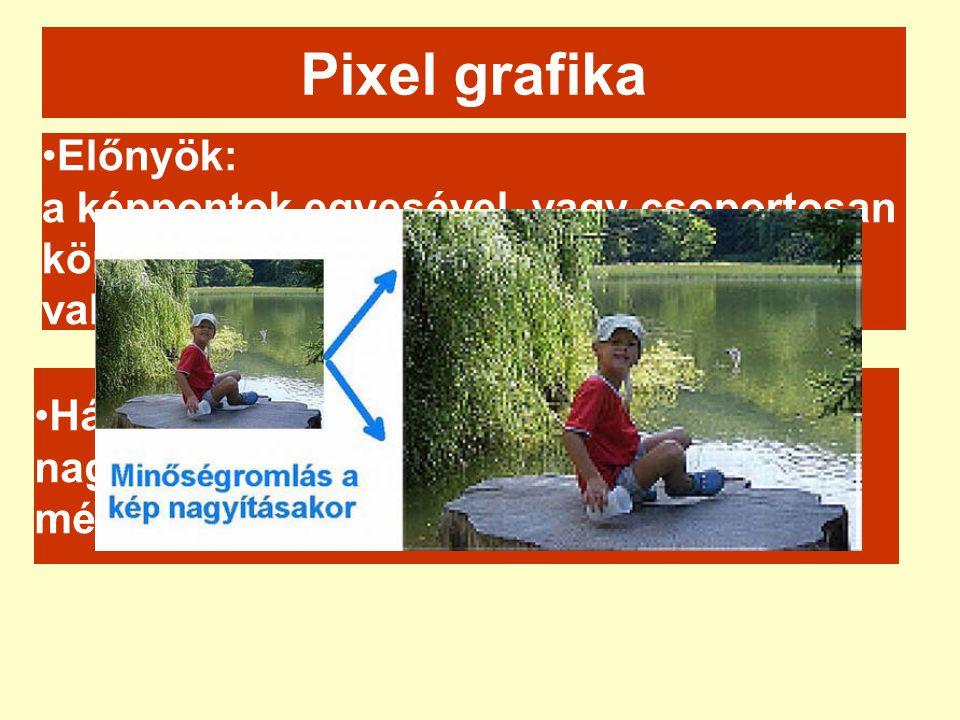 •Előnyök: a képpontok egyesével, vagy csoportosan könnyen módosíthatók valósághű ábrázolás Pixel grafika •Hátrányok: nagy fileméret méretmódosításkor