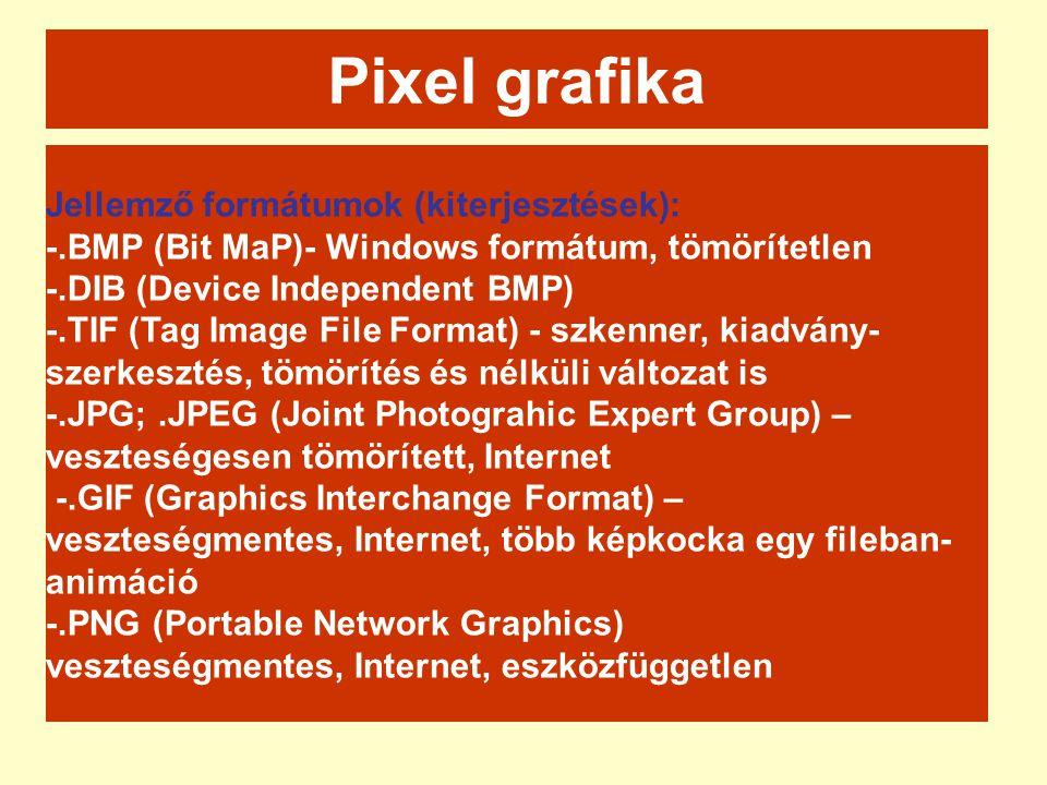 Jellemző formátumok (kiterjesztések): -.BMP (Bit MaP)- Windows formátum, tömörítetlen -.DIB (Device Independent BMP) -.TIF (Tag Image File Format) - s