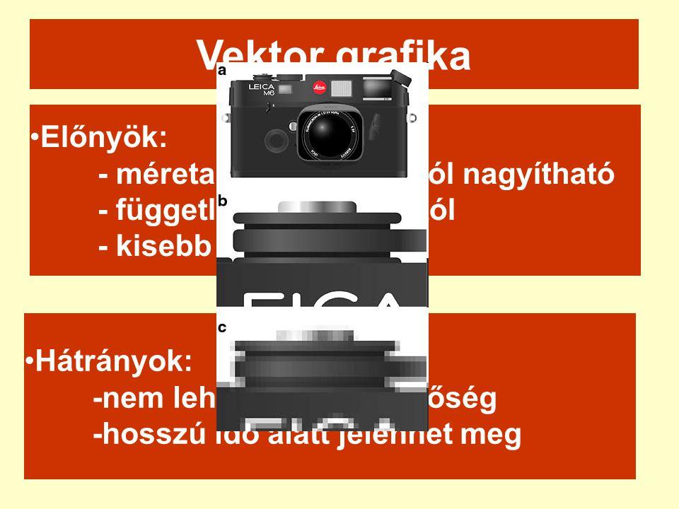 •Előnyök: - méretarány tartással jól nagyítható - független a felbontástól - kisebb file méret Vektor grafika •Hátrányok: -nem lehet fénykép minőség -