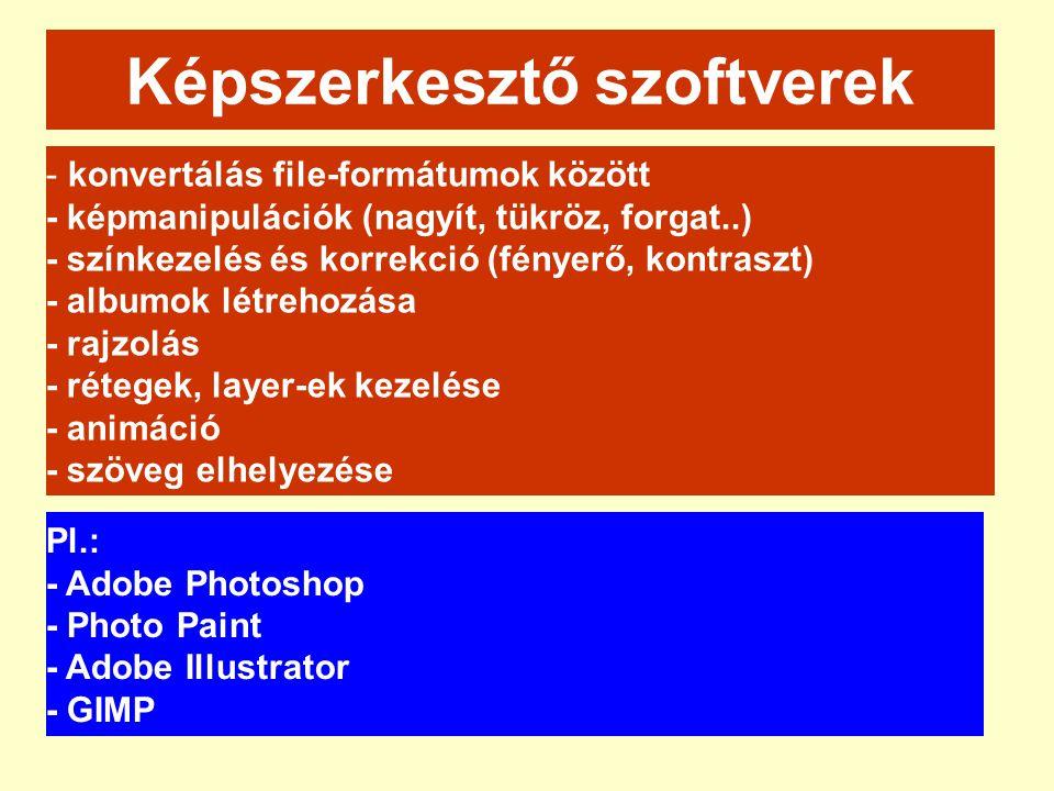 - konvertálás file-formátumok között - képmanipulációk (nagyít, tükröz, forgat..) - színkezelés és korrekció (fényerő, kontraszt) - albumok létrehozás