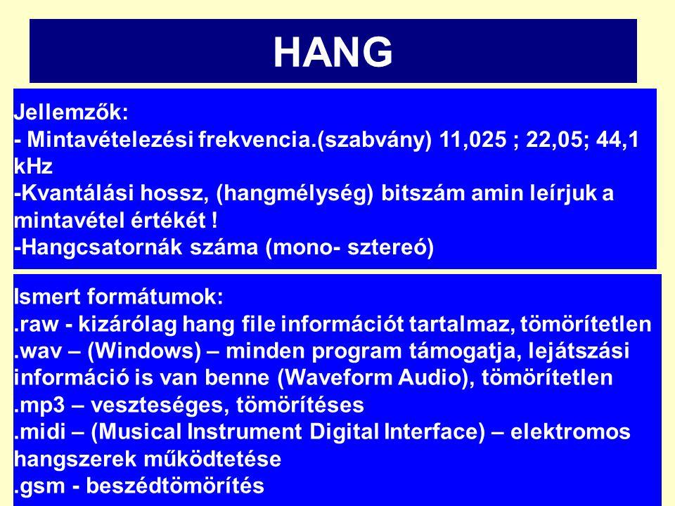 HANG Jellemzők: - Mintavételezési frekvencia.(szabvány) 11,025 ; 22,05; 44,1 kHz -Kvantálási hossz, (hangmélység) bitszám amin leírjuk a mintavétel ér