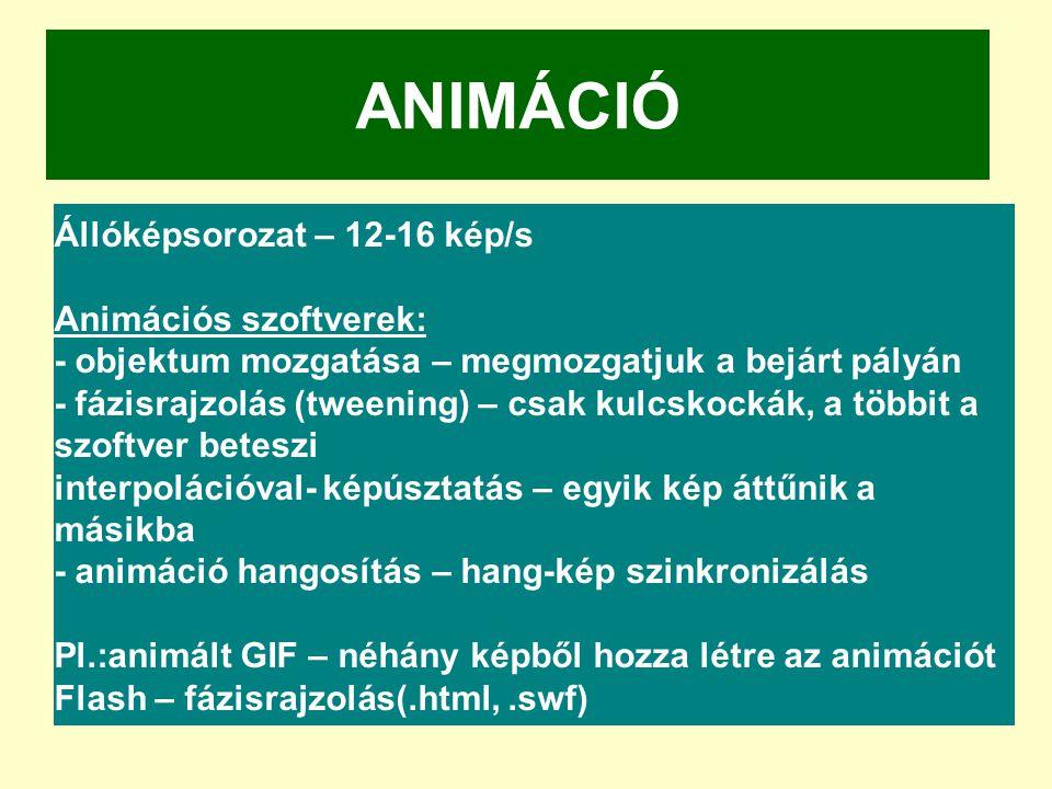 ANIMÁCIÓ Állóképsorozat – 12-16 kép/s Animációs szoftverek: - objektum mozgatása – megmozgatjuk a bejárt pályán - fázisrajzolás (tweening) – csak kulc