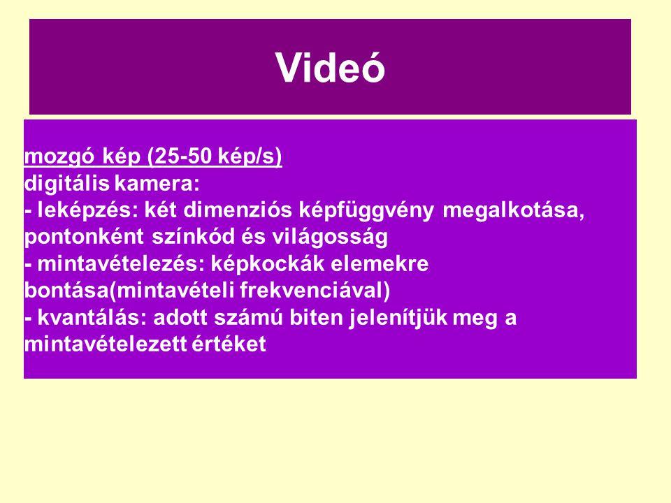 Videó mozgó kép (25-50 kép/s) digitális kamera: - leképzés: két dimenziós képfüggvény megalkotása, pontonként színkód és világosság - mintavételezés: