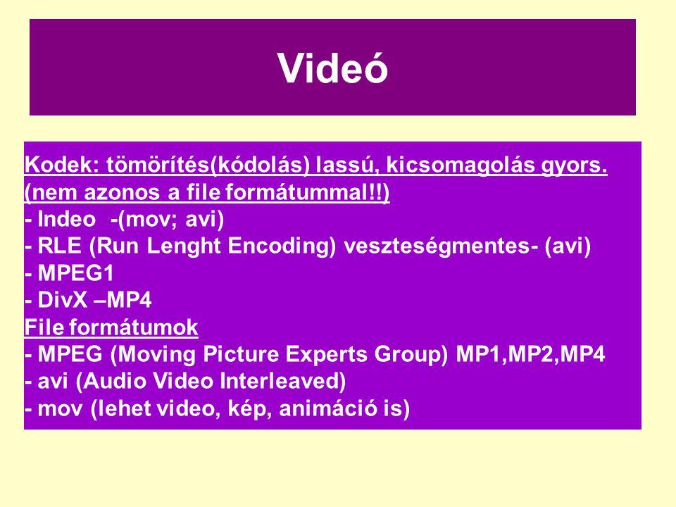 Videó Kodek: tömörítés(kódolás) lassú, kicsomagolás gyors. (nem azonos a file formátummal!!) - Indeo -(mov; avi) - RLE (Run Lenght Encoding) veszteség