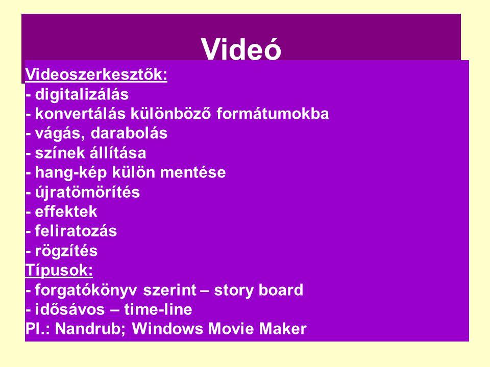 Videó Videoszerkesztők: - digitalizálás - konvertálás különböző formátumokba - vágás, darabolás - színek állítása - hang-kép külön mentése - újratömör