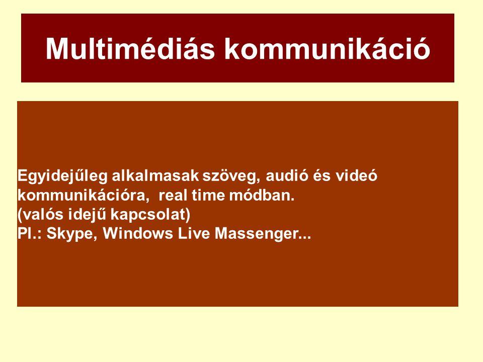 Multimédiás kommunikáció Egyidejűleg alkalmasak szöveg, audió és videó kommunikációra, real time módban. (valós idejű kapcsolat) Pl.: Skype, Windows L