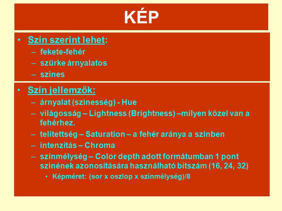 KÉP •Szín szerint lehet: –fekete-fehér –szürke árnyalatos –szines •Szín jellemzők: –árnyalat (szinesség) - Hue –világosság – Lightness (Brightness) –m