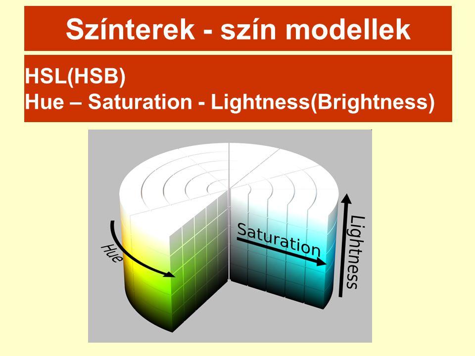 Színterek - szín modellek HSL(HSB) Hue – Saturation - Lightness(Brightness)