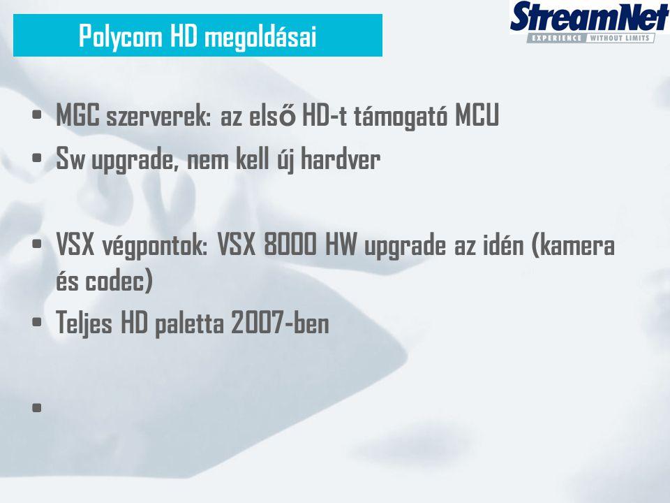 • MGC szerverek: az els ő HD-t támogató MCU • Sw upgrade, nem kell új hardver • VSX végpontok: VSX 8000 HW upgrade az idén (kamera és codec) • Teljes HD paletta 2007-ben • Polycom HD megoldásai