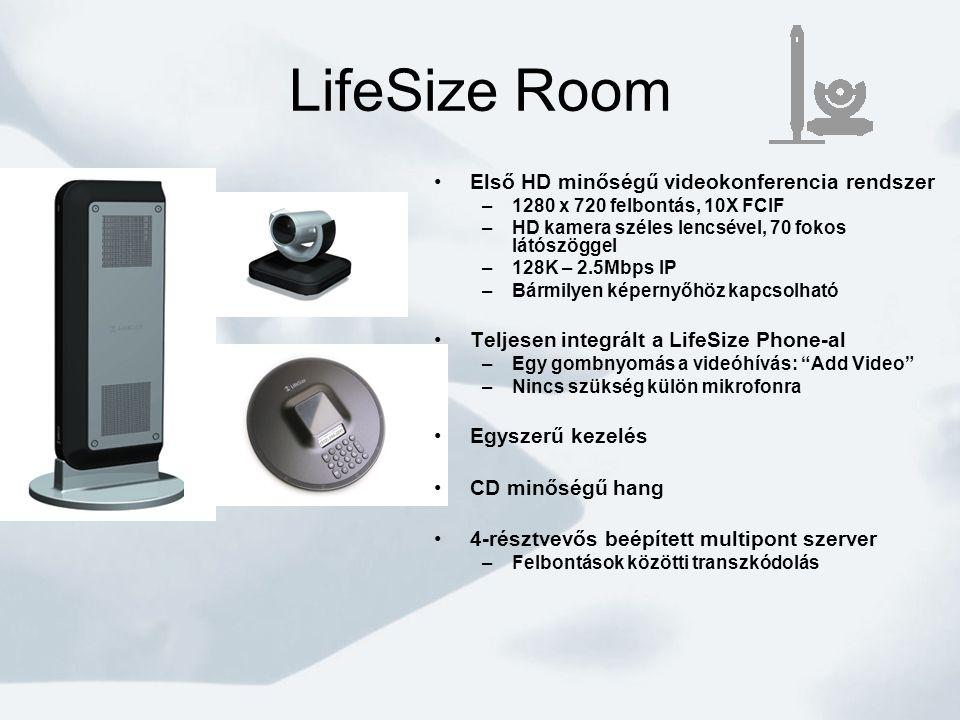 LifeSize Room •Első HD minőségű videokonferencia rendszer –1280 x 720 felbontás, 10X FCIF –HD kamera széles lencsével, 70 fokos látószöggel –128K – 2.5Mbps IP –Bármilyen képernyőhöz kapcsolható •Teljesen integrált a LifeSize Phone-al –Egy gombnyomás a videóhívás: Add Video –Nincs szükség külön mikrofonra •Egyszerű kezelés •CD minőségű hang •4-résztvevős beépített multipont szerver –Felbontások közötti transzkódolás