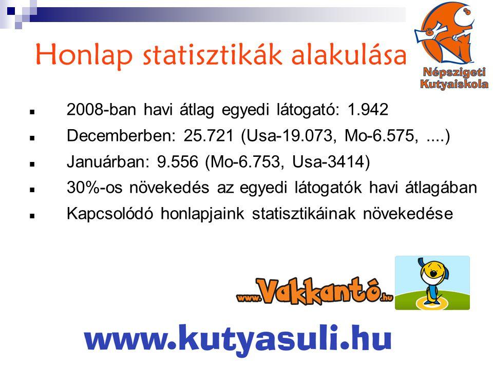 Honlap statisztikák alakulása  2008-ban havi átlag egyedi látogató: 1.942  Decemberben: 25.721 (Usa-19.073, Mo-6.575,....)  Januárban: 9.556 (Mo-6.753, Usa-3414)  30%-os növekedés az egyedi látogatók havi átlagában  Kapcsolódó honlapjaink statisztikáinak növekedése
