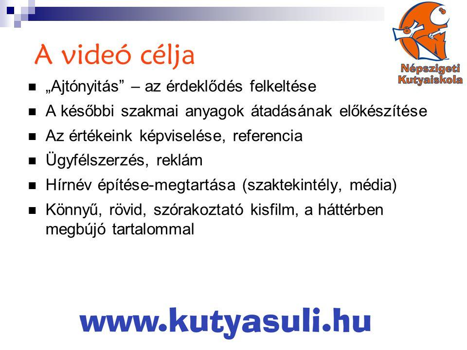 """A videó célja  """"Ajtónyitás – az érdeklődés felkeltése  A későbbi szakmai anyagok átadásának előkészítése  Az értékeink képviselése, referencia  Ügyfélszerzés, reklám  Hírnév építése-megtartása (szaktekintély, média)  Könnyű, rövid, szórakoztató kisfilm, a háttérben megbújó tartalommal"""