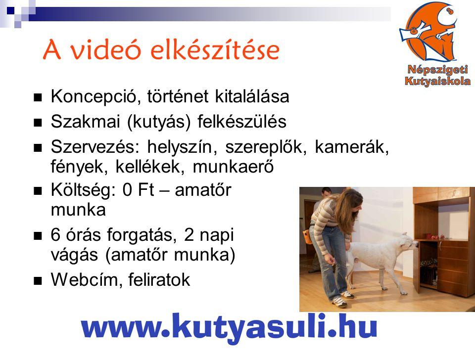A videó elkészítése  Koncepció, történet kitalálása  Szakmai (kutyás) felkészülés  Szervezés: helyszín, szereplők, kamerák, fények, kellékek, munkaerő  Költség: 0 Ft – amatőr munka  6 órás forgatás, 2 napi vágás (amatőr munka)  Webcím, feliratok