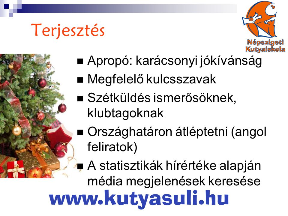 Terjesztés  Apropó: karácsonyi jókívánság  Megfelelő kulcsszavak  Szétküldés ismerősöknek, klubtagoknak  Országhatáron átléptetni (angol feliratok