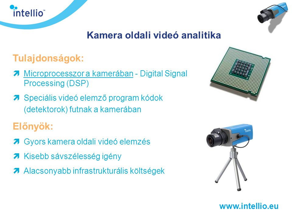 www.intellio.eu ComTrade (USCE) Belgrád Megoldás: ViSiscanner™ 1 db Kiskereskedelmi intelligenciájú kamera (ILC-100R+L) 1 db Intellio VGA felbontású kamera (ILC-100B+L) Intellio System Software – Basic (ILS-BSC) Intellio Videó Rögzítő Kiszolgáló (IVR-32/16- DSKT)