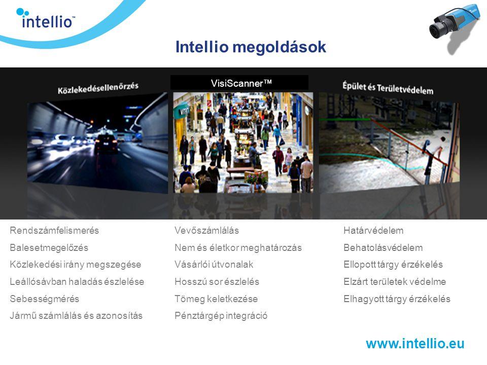 www.intellio.eu VisiScanner™ funkciói  Vevőszámlálás  Nem és életkor meghatározása  Tekintet irányának és idejének mérése  Gyakori vevői útvonalak hőtérképen  Pénztárgép integráció  Hosszú sorok, tömeg kialakulásának észlelése  Életkor alapú szűrés automatákban  Részletes kimutatások készítése