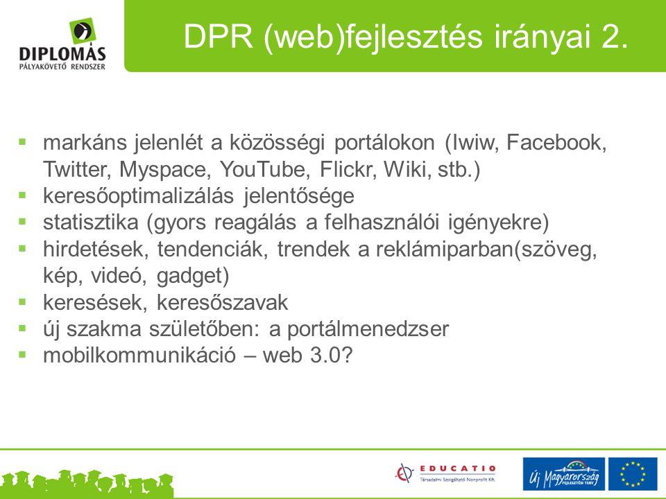 DPR (web)fejlesztés irányai 2.  markáns jelenlét a közösségi portálokon (Iwiw, Facebook, Twitter, Myspace, YouTube, Flickr, Wiki, stb.)  keresőoptim