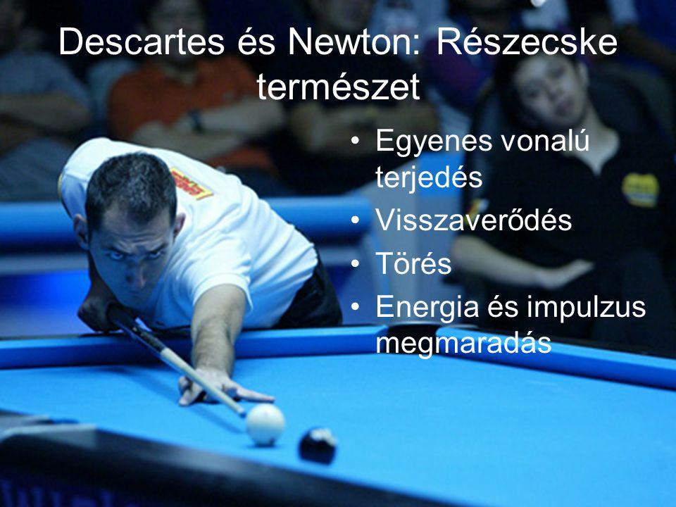 Descartes és Newton: Részecske természet •Egyenes vonalú terjedés •Visszaverődés •Törés •Energia és impulzus megmaradás
