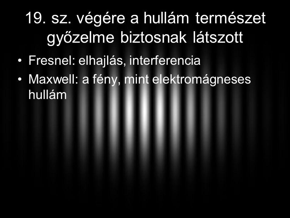 19. sz. végére a hullám természet győzelme biztosnak látszott •Fresnel: elhajlás, interferencia •Maxwell: a fény, mint elektromágneses hullám