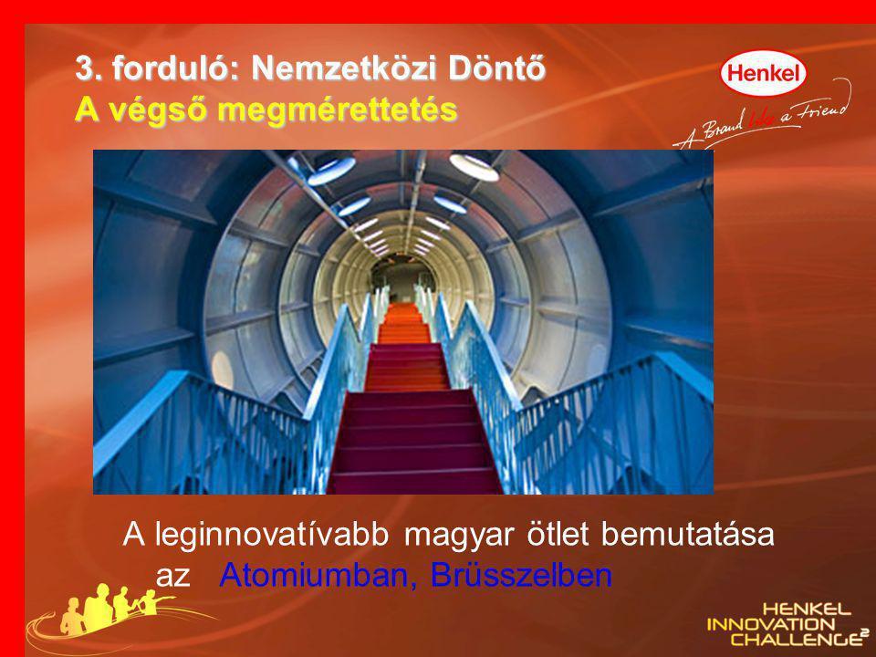 3. forduló: Nemzetközi Döntő A végső megmérettetés A leginnovatívabb magyar ötlet bemutatása az Atomiumban, Brüsszelben