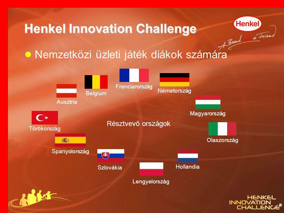 Henkel Innovation Challenge ● Nemzetközi üzleti játék diákok számára Franciarország Olaszország Törökország Németország Spanyolország Szlovákia Belgiu