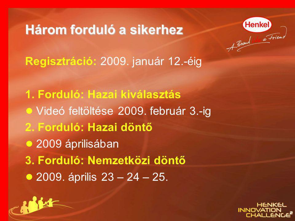 Három forduló a sikerhez Regisztráció: 2009. január 12.-éig 1. Forduló: Hazai kiválasztás ● Videó feltöltése 2009. február 3.-ig 2. Forduló: Hazai dön