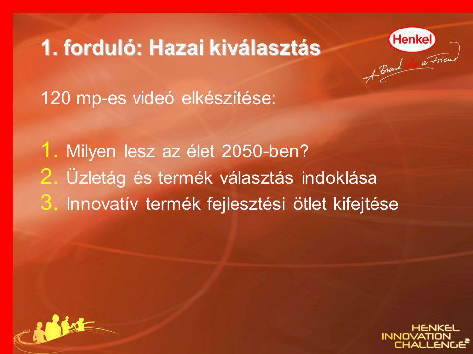 1. forduló: Hazai kiválasztás 120 mp-es videó elkészítése: 1. Milyen lesz az élet 2050-ben? 2. Üzletág és termék választás indoklása 3. Innovatív term