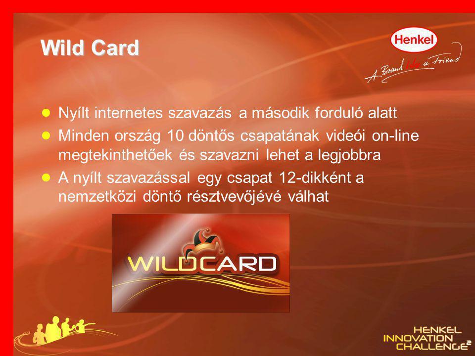Wild Card ● Nyílt internetes szavazás a második forduló alatt ● Minden ország 10 döntős csapatának videói on-line megtekinthetőek és szavazni lehet a