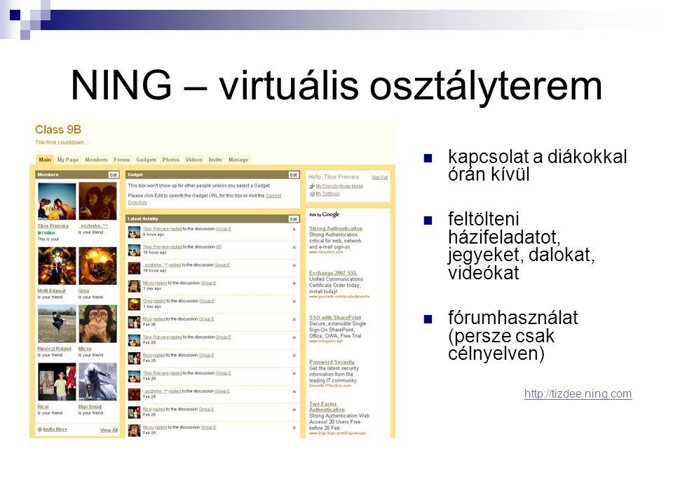 NING – virtuális osztályterem  kapcsolat a diákokkal órán kívül  feltölteni házifeladatot, jegyeket, dalokat, videókat  fórumhasználat (persze csak célnyelven) http://tizdee.ning.com