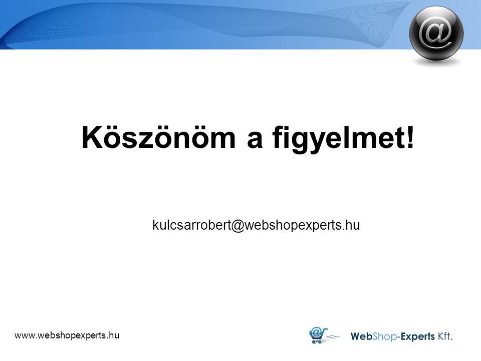 www.webshopexperts.hu Köszönöm a figyelmet! kulcsarrobert@webshopexperts.hu
