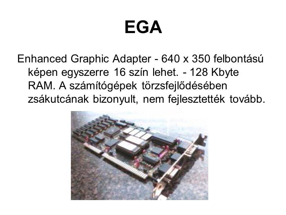 EGA Enhanced Graphic Adapter - 640 x 350 felbontású képen egyszerre 16 szín lehet.