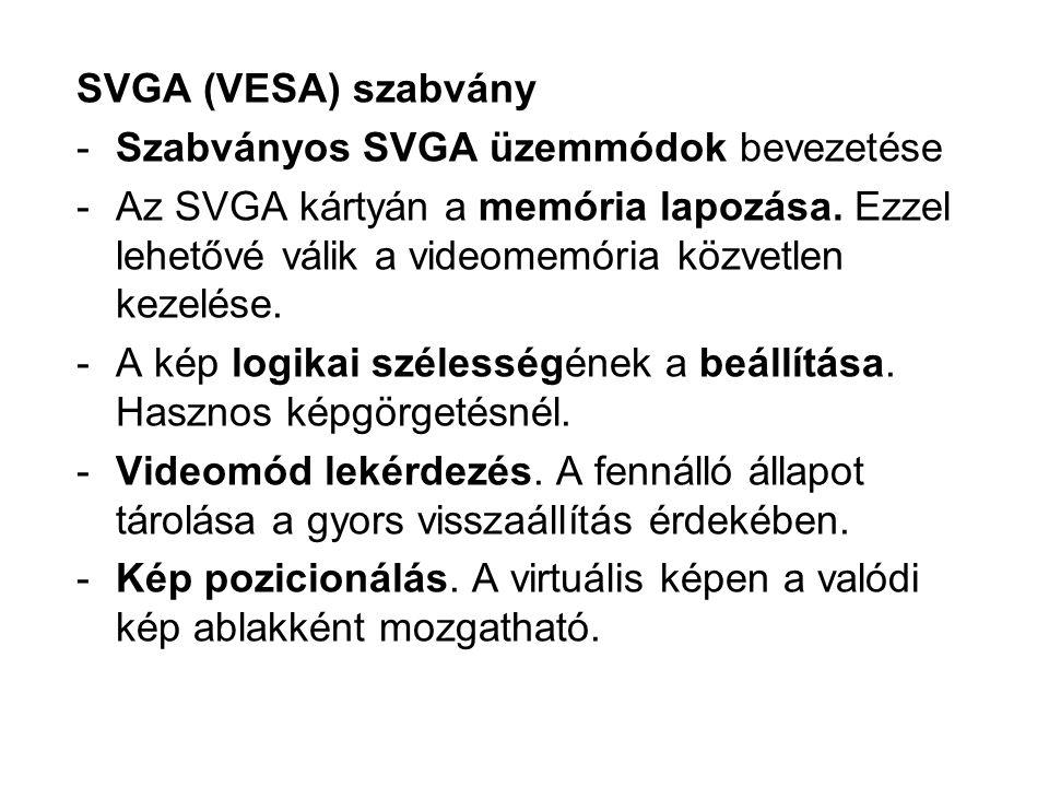 SVGA (VESA) szabvány -Szabványos SVGA üzemmódok bevezetése -Az SVGA kártyán a memória lapozása.