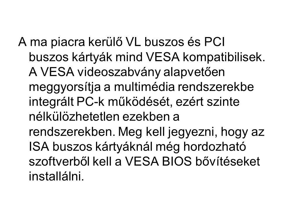 A ma piacra kerülő VL buszos és PCI buszos kártyák mind VESA kompatibilisek.
