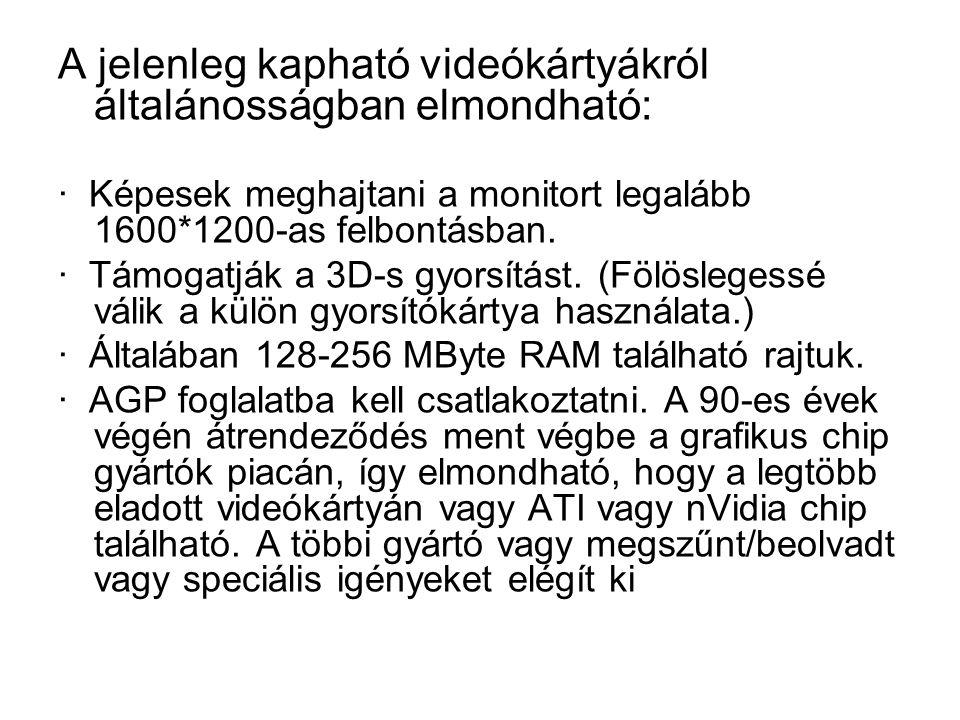 A jelenleg kapható videókártyákról általánosságban elmondható: · Képesek meghajtani a monitort legalább 1600*1200-as felbontásban.