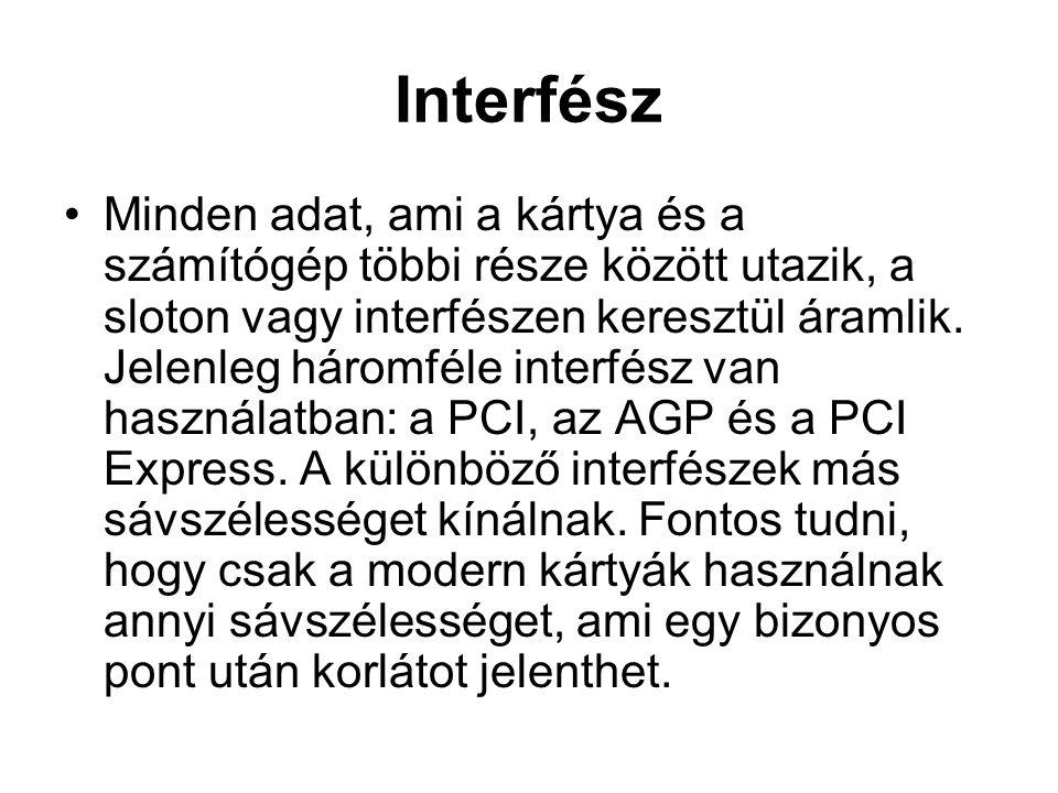 Interfész •Minden adat, ami a kártya és a számítógép többi része között utazik, a sloton vagy interfészen keresztül áramlik.