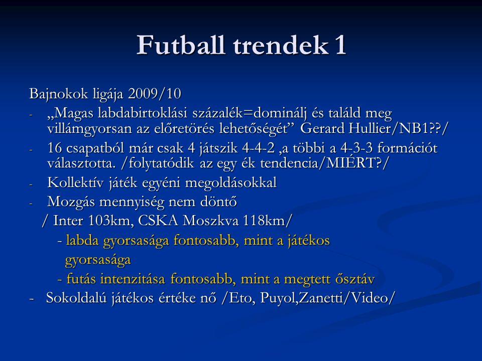 """Futball trendek 1 Bajnokok ligája 2009/10 - """"Magas labdabirtoklási százalék=dominálj és találd meg villámgyorsan az előretörés lehetőségét"""" Gerard Hul"""