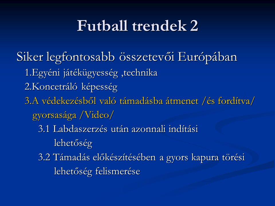 Futball trendek 2 Siker legfontosabb összetevői Európában 1.Egyéni játékügyesség,technika 1.Egyéni játékügyesség,technika 2.Koncetráló képesség 2.Konc