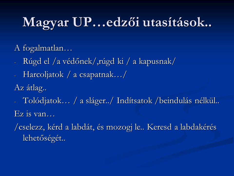 Magyar UP…edzői utasítások.. A fogalmatlan… - Rúgd el /a védőnek/,rúgd ki / a kapusnak/ - Harcoljatok / a csapatnak…/ Az átlag.. - Tolódjatok… / a slá