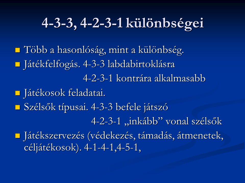 4-3-3, 4-2-3-1 különbségei  Több a hasonlóság, mint a különbség.  Játékfelfogás. 4-3-3 labdabirtoklásra 4-2-3-1 kontrára alkalmasabb 4-2-3-1 kontrár
