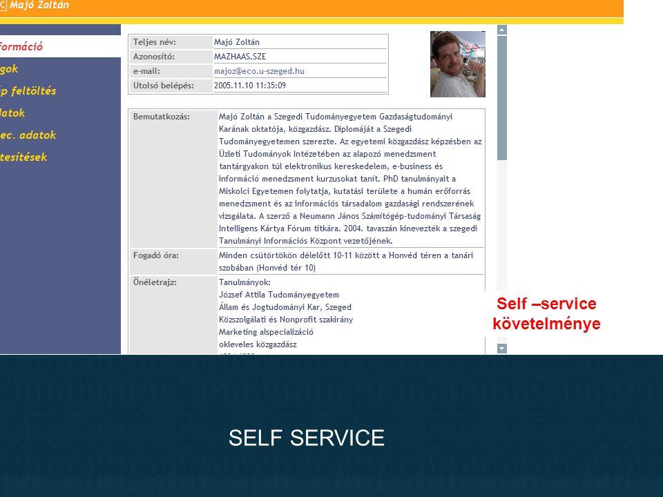 SELF SERVICE Self –service követelménye