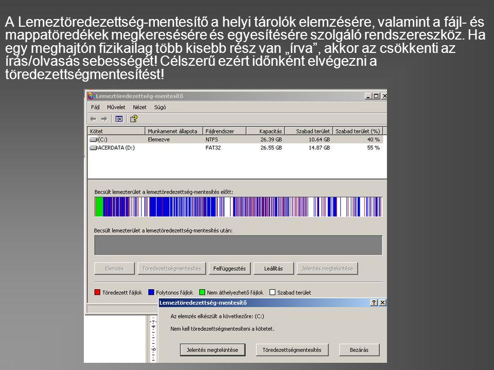 A Lemeztöredezettség-mentesítő a helyi tárolók elemzésére, valamint a fájl- és mappatöredékek megkeresésére és egyesítésére szolgáló rendszereszköz. H