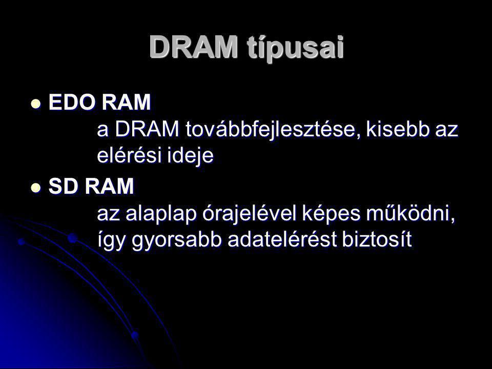 DRAM típusai EEEEDO RAM a DRAM továbbfejlesztése, kisebb az elérési ideje SSSSD RAM az alaplap órajelével képes működni, így gyorsabb adatelérést biztosít