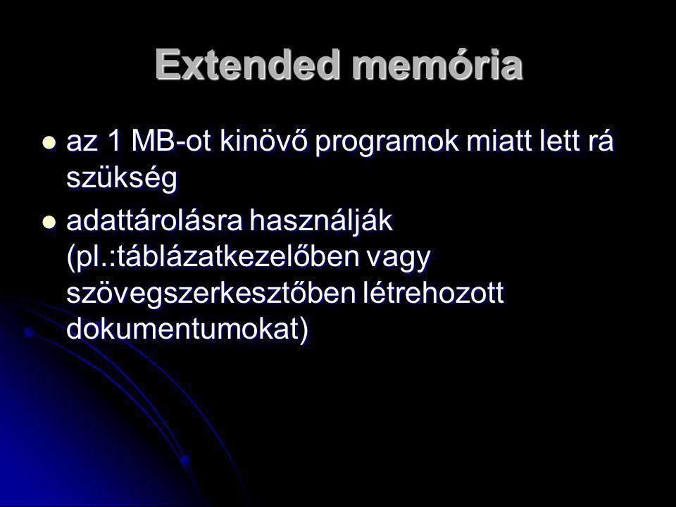 Extended memória  az 1 MB-ot kinövő programok miatt lett rá szükség  adattárolásra használják (pl.:táblázatkezelőben vagy szövegszerkesztőben létrehozott dokumentumokat)