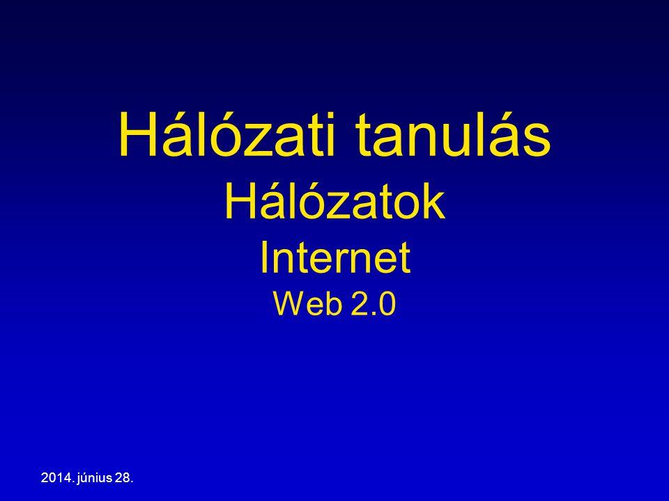 2014. június 28. Hálózati tanulás Hálózatok Internet Web 2.0