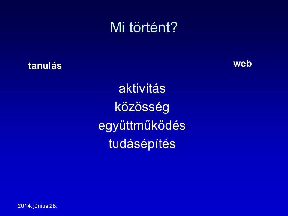 2014. június 28. Mi történt aktivitás közösség együttműködés tudásépítés tanulás web