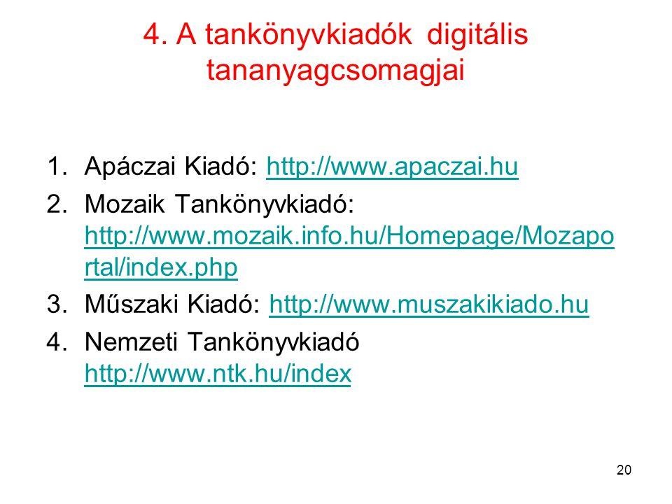 4. A tankönyvkiadók digitális tananyagcsomagjai 1.Apáczai Kiadó: http://www.apaczai.huhttp://www.apaczai.hu 2.Mozaik Tankönyvkiadó: http://www.mozaik.