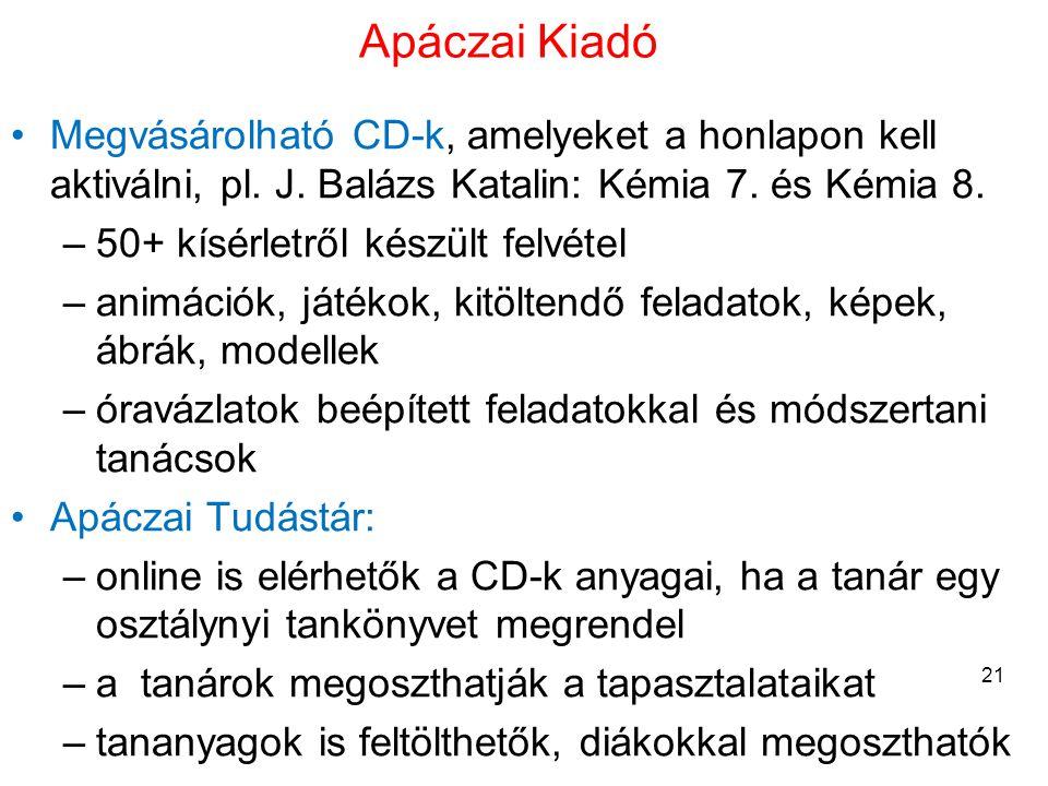 Apáczai Kiadó •Megvásárolható CD-k, amelyeket a honlapon kell aktiválni, pl. J. Balázs Katalin: Kémia 7. és Kémia 8. –50+ kísérletről készült felvétel