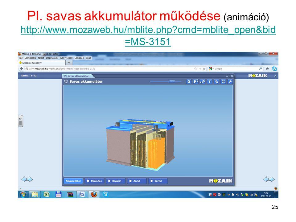 Pl. savas akkumulátor működése (animáció) http://www.mozaweb.hu/mblite.php?cmd=mblite_open&bid =MS-3151 http://www.mozaweb.hu/mblite.php?cmd=mblite_op