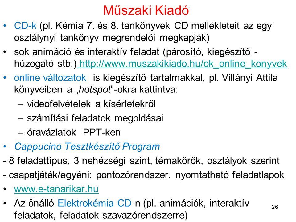 Műszaki Kiadó •CD-k (pl. Kémia 7. és 8. tankönyvek CD mellékleteit az egy osztálynyi tankönyv megrendelői megkapják) •sok animáció és interaktív felad