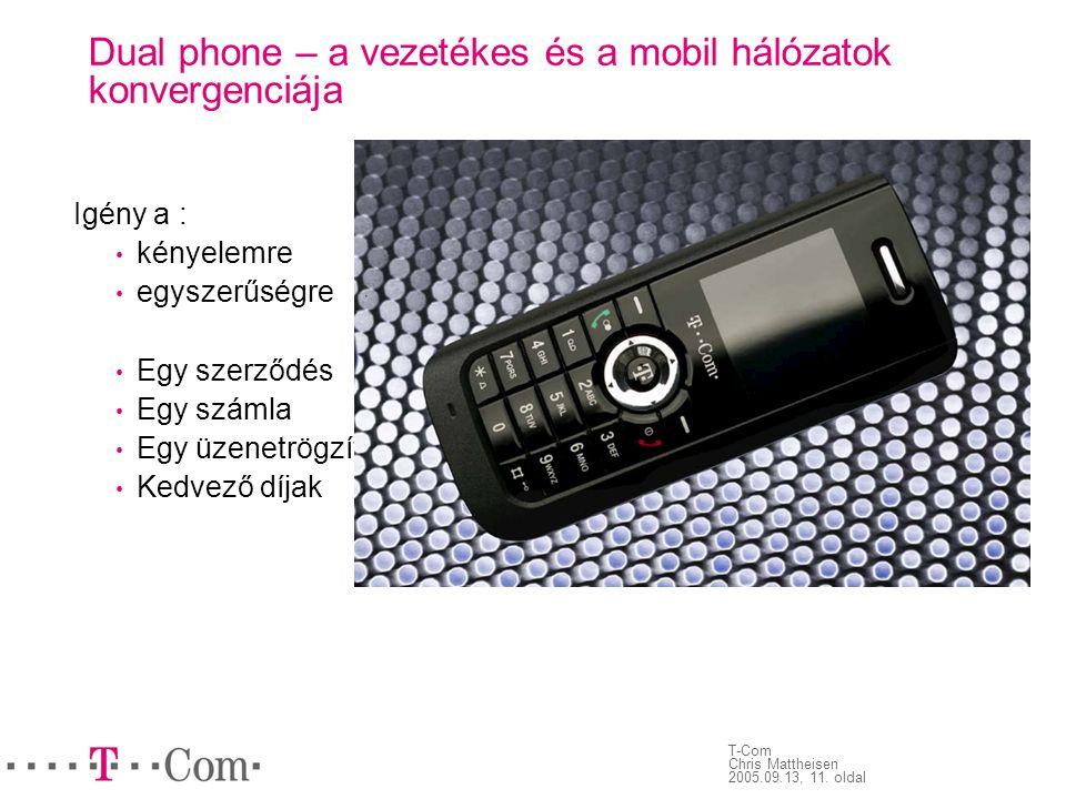 T-Com Chris Mattheisen 2005.09.13, 11. oldal Dual phone – a vezetékes és a mobil hálózatok konvergenciája Igény a : • kényelemre • egyszerűségre • Egy